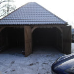 inside of wooden barn conversion in snow