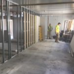 building of partition walls in commercial office block
